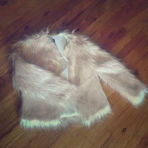 Pink faux fur jacket- brand new
